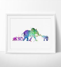 Elephant Watercolor Print, Elephant Art Print, Watercolor Art, Animal…