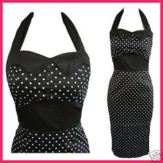 Black Polka Dot Pin up Rockabilly Pencil Dress!   *Size 16 and 20 only!*