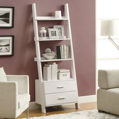 Features:  -Material: Particle board / MDF.  -With 2 storage drawers.  -Finish: White.  Product Type: -Leaning.  Style: -Contemporary.  Finish: -White.  Frame Material: -Wood.  Shelving Included: -Yes