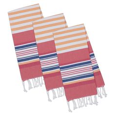 Beachy Pink Stripes Fouta Towel - Set of 3, Multi