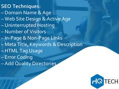 We use the following Google #SEO Techniques to enhance your #website presence. #HQtech #business #IT #sales #technology #HQ #tech