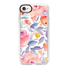 Watercolor Floral Blues + Pinks Pattern - iPhone 7 Case And Cover ($40) ❤ liked on Polyvore featuring accessories, tech accessories, iphone case, apple iphone case, floral iphone case, clear iphone case, iphone cases and clear floral iphone case