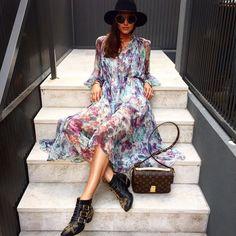 Clementine McVeigh in Zimmermann Dress Chloe Susanna boots and Louis Vuitton Pochette Metis