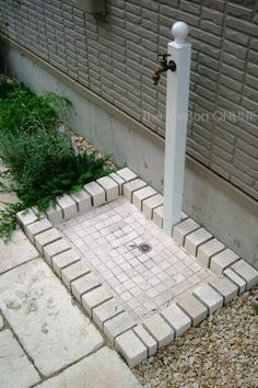 Don't think we need separate drain but mounting spigot up and separate from house like this seems like it wouldn't be TOO hard for a plumber. Garden Yard Ideas, Backyard Projects, Outdoor Projects, Backyard Patio, Garden Projects, Garden Sink, Outdoor Living, Outdoor Decor, Yard Design