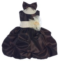 Brown Baby Dresses with Sash and Flower