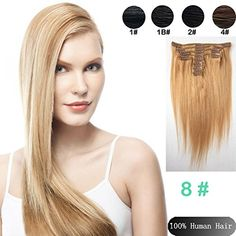 Best selling 9pcs/Set 18 inch clip in remy human straight hair extension color -8 medium ash bloned hair unprocessed Brazilian straight clip in hair extension ** Be sure to check out this awesome product.