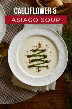 Cauliflower and Asiago Soup with Holiday Tree Herb Drizzle Garnished with a pretty Christmas tree pesto drizzle, serve this delightful cream soup as a first course before the holiday meal or as a special main dish for a lunch or light dinner. Make the season bright with a soup that always warms the tummy and soul.