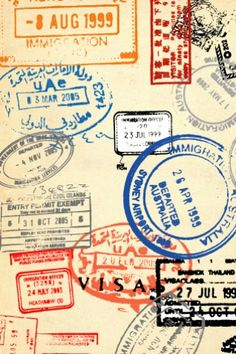 Travelling Stamps iPhone Wallpaper
