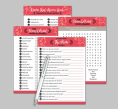 Fitness Bridal Shower Games, Fitness Printable, Bridal Word Search, Bridal Word Scramble, Wedding Shower Games, Movie Game, Party Games by TheBodyWorkout on Etsy