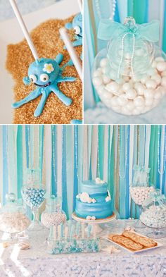 Under the Sea party. I like the idea of using brown sugar or graham cracker crumbs for sand!
