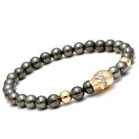 6mm Nature Iron Energy Stone Beads Bracelet Men Gold/Silver/Rose Gold/Black Gun Skull Charm Buddha Bracelet For Women Jewelry