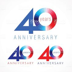 anniversary 40 red and blue logo. royalty-free anniversary 40 red and blue logo stock vector art & more images of years 25 Year Anniversary, Anniversary Logo, Red And Blue Logo, Logo Design, Graphic Design, Free Vector Art, 40th Birthday, 40 Years, Mobile Wallpaper
