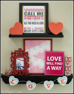 A Valentine's Day Mantel by @anightowlblog :: easy and inexpensive ideas to update your mantel for Valentine's Day!