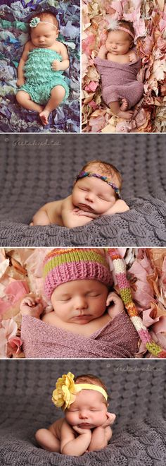 Newborn~ i love photos with texture. Some great ideas here!