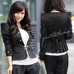 slim fit business puff sleeve suit jacket from ebay