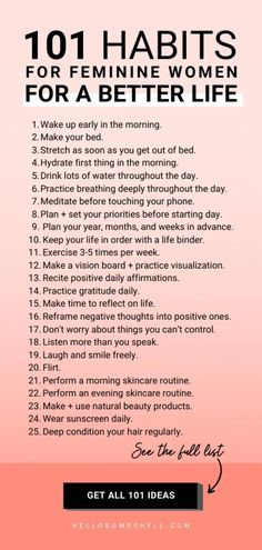 Good habits to start for women for self improvement & better life. Improve life & become a better person. Develop healthy habits & break bad habits, fast. Self help tips, life hacks, personal development, goals, personal growth, self improvement, motivation, challenge, self esteem, confidence & wellness. Habit tracker, habit ideas, habits list, morning routine, habits of successful people and mental health. #lifehacks #habits #goals #motivation #mindset #personaldevelopment #selflove… Good Habits, Healthy Habits, Healthy Tips, Good Health Tips, Health Tips For Women, Women Health, List Of Habits, Healthy Routines, Healthy Recipes