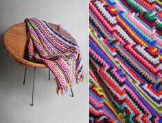 Vintage Neon Rainbow Psychedelic Crochet Afghan by GirlLeastLikely
