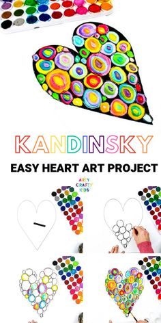 Arty Crafty Kids Kandinsky Heart Art Project a simple art idea for kids that explores colourmixing and encourages children to play with colour combinations Kids Crafts, Quick Crafts, Fall Crafts, Classe D'art, Kandinsky Art, Kandinsky For Kids, Easy Art Projects, Children Art Projects, Art Project For Kids