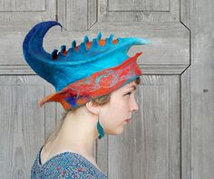 Unique fancy felted hat  designer hat sculptural hat by filcAlki