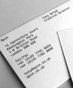 (x) Spin (Monospaced font) - Akkurat Mono {Abi} Letterhead Business, Letterhead Design, Stationery Design, Business Branding, Business Cards Layout, Simple Business Cards, Monospace, Visual Communication Design, Web Design