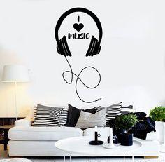 Vinyl Wall Decal Headphones Musical Decor Teen Room Stickers Mural (ig4274)                                                                                                                                                                                 Más