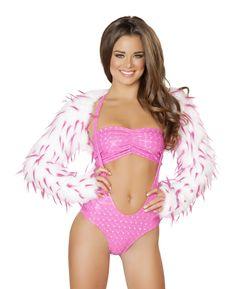 Hot Pink Spike Faux Fur Shrug