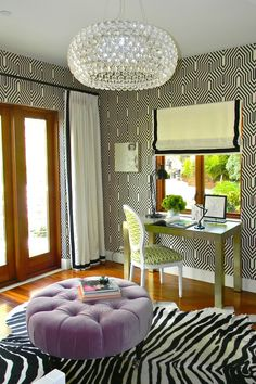 Great office: wallpaper, chandelier & chair fabric, ottoman & rug...love it all.