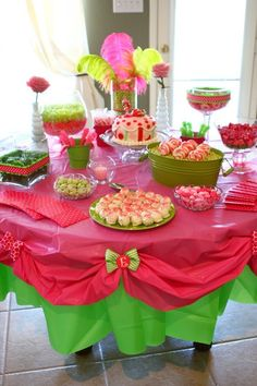 Plastic Tablecloths can also be used to decorate the Party Table ~ inexpensive and easy way to dress up your party!