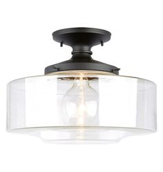 Our Eastmoreland Semi-Flush is the result of compressing the curves and tightening the corners on our bestselling schoolhouse lights -- but without sacrificing the sumptuous shape that gives these classics their enduring appeal. Entryway Lighting, Bedroom Lighting, Kitchen Lighting, Home Lighting, Lighting Ideas, Laundry Room Lighting, Interior Lighting, Bathroom Ceiling Light, Flush Ceiling Lights