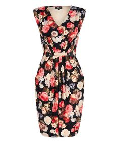 Look what I found on #zulily! Black Floral V-Neck Dress by Iska London #zulilyfinds