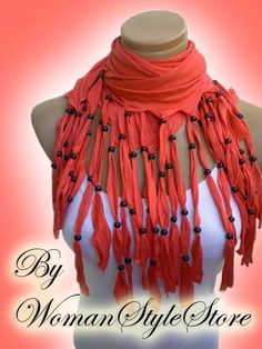 Fringed and beaded, Personalized Design Women Scarf. Diy Scarf, Scarf Shirt, T Shirt Yarn, Recycled T Shirts, Old T Shirts, Mode Hippie, Fabric Jewelry, Diy Clothing, Scarf Styles