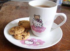 Mug & Small Plate  Tea and cookies  Hello Kitty & Bear
