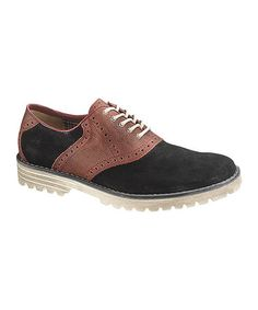 15854ee762c Take a look at this Black Authentic Lug Saddle Shoe - Men by Hush Puppies on