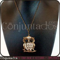 El collar Búho con cuerpo de cristales es uno de los varios collares que puedes encontrar en Conjuntados.com con la figura de este simpático e inteligente animalito. ¡Decide qué modelo te gusta más! http://www.conjuntados.com/collares/collar-buho-con-cuerpo-de-cristales.html #necklaces #fashion #accesorios #complementos #bisuteria #jewelry #bijoux #shopping #trendy #tendencias #tendances #moda #estilo #style #PymesUnidas