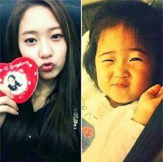 f(x)'s Amber posts a cute childhood photo of member Krystal #allkpop #kpop