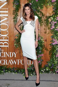 Gorgeous: Cindy Crawford was certainly dressed to impress when she attended a party celebr...