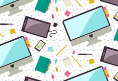 In this tutorial you'll create various desk and office icons and compile them into a quick and easy seamless pattern using the Pattern Options panel. Using combinations of basic shapes (circles, rectangles, and triangles), you'll create objects often found within a digital artist's workspace, ready for use as a pattern, illustration, or infographics. | Difficulty: Beginner; Length: Medium; Tags: Adobe Illustrator, Vector, Vector Pattern, Illustration, Flat Design