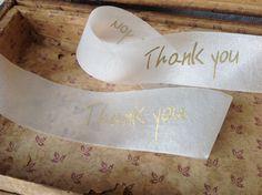 thank you gold and ivory sheer ribbon wedding diy via Etsy