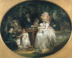 The Tea Garden by George Morland, circa 1790    I adore the way they child is petting the dog.
