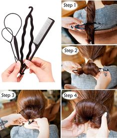 Mrotrida Women's Hair Styling Tools Sets Magic Hair Bun Clip Hairpins Roller Kit ** Check out this great article. Braided Ponytail Hairstyles, Twist Hairstyles, Hair Braider, French Twist Hair, Heart Hair, Magic Hair, Hair Dye Colors, Hair Accessories For Women, Hair Care Tips