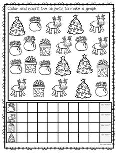 Count & Graph for I hope your class enjoys this holiday count and graph activity. Students count the holiday objects and color the correct number of spaces on their graph. They then write the number of how many of each object they counted. Christmas Worksheets, Christmas Math, Preschool Christmas, Graphing Worksheets, Kindergarten Math Worksheets, Preschool Math, Holiday Classrooms, First Day Of School Activities, Math Groups
