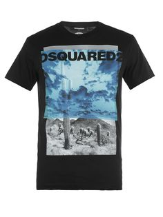Desert Printed Cotton Jersey T-shirt In Black Camisa Gucci, Dsquared2, Printed Cotton, Style Inspiration, Fashion Outfits, Board, Prints, Mens Tops, T Shirt