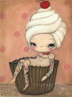 Items similar to Cupcake Print Cake Art Tattoo Girl Wall Kitchen Art Decor---Tattood Cupcake Girl on Etsy Kunst Tattoos, Print Tattoos, Girl Tattoos, Tatoos, Cupcake Kunst, Cupcake Art, Cupcake Mafia, Illustration Mignonne, Cute Illustration