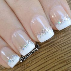 Newest Gel Nails White Glitter French Manicure With Champagne Line