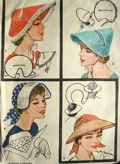 """Millinary 4 Vint SUNBONNET VISOR HAT Fabric Material Sewing Sew Pattern patterns that are for regular size will also work for doll size. They are just """"shrunk down"""" and they work great . Hat Patterns To Sew, Mccalls Patterns, Vintage Sewing Patterns, Knitting Patterns, Sew Pattern, 60s Patterns, Sewing Designs, Millinery Hats, Visor Hats"""