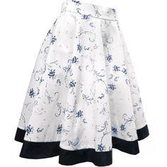 Saia Godê Branca de Flores Azuis com Barrado Azul Marinho. - Atelier Luiza Pannunzio