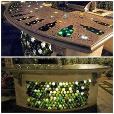 How To Build Up A Bar- glass bottle wine bar for the outdoor kitchen Outdoor Kitchen Bars, Outdoor Kitchen Design, Bottle Wall, Glass Bottle, Wine Bottles, Wine Bottle Garden, Diy Bar, Rustic Design, Queen