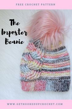 The Imposter Beanie crochet pattern by Get Hooked Up Crochet Crochet Adult Hat, Bonnet Crochet, Crochet Beanie Pattern, Cute Crochet, Crochet Patterns, Crochet Slouchy Beanie, Headband Pattern, Knitting Patterns, Crochet Gratis