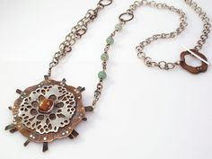 Sea Flower  Copper and Sterling Pendant with by ZLeslieJewelry, $350.00