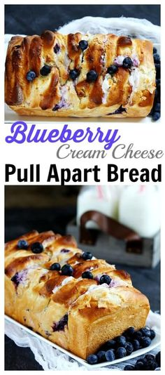 Blueberry Cream Cheese Pull Apart Bread – Delicious homemade pull apart bread is made with homemade dough,  stuffed with cream cheese and studded with fresh blueberries. A summer favorite for berry lovers! (Cheese Muffins Pull Apart)